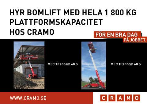Hyr Bomlift med hela 1 800 kg plattformskapacitet hos Cramo