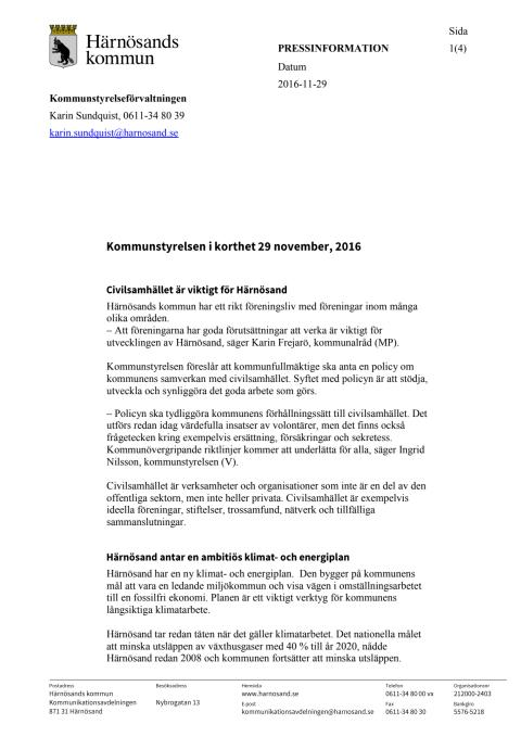 Kommunstyrelsen i Härnösand i korthet, 29 november 2016