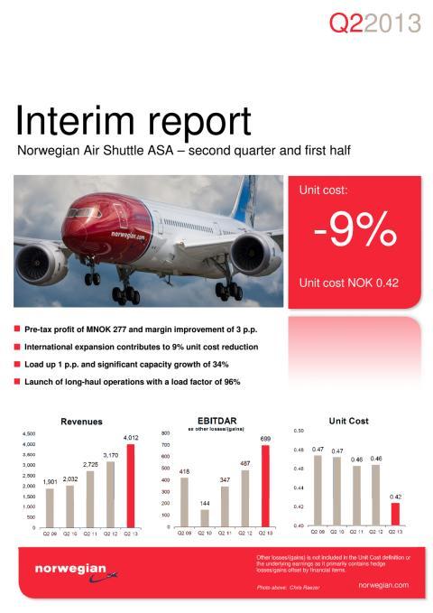 Norwegian Q2 13 Report
