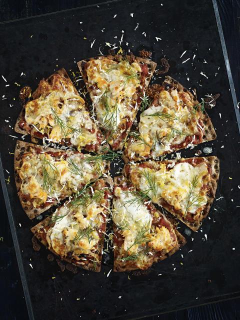 Knäckepizza - Laxpizzan