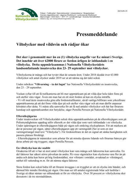 Pressmeddelande från Nationella Viltolycksrådet