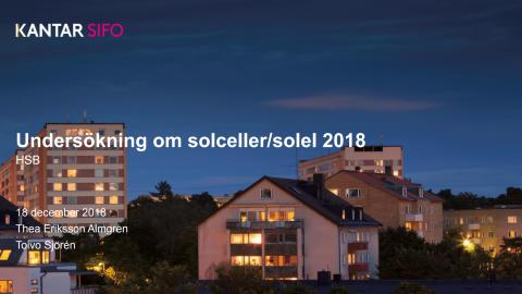 Undersökning om solceller/solel hos boende i bostadsrättsföreningar