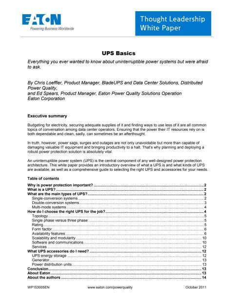 White paper: Grunderna inom UPS