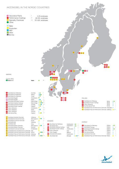 Karta över AkzoNobel i Norden