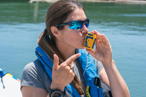 Hi-res image - Ocean Signal - North Pacific solo rower Lia Ditton with her Ocean Signal rescueME PLB1