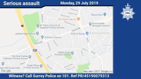 Witness appeal following serious assault in Addlestone