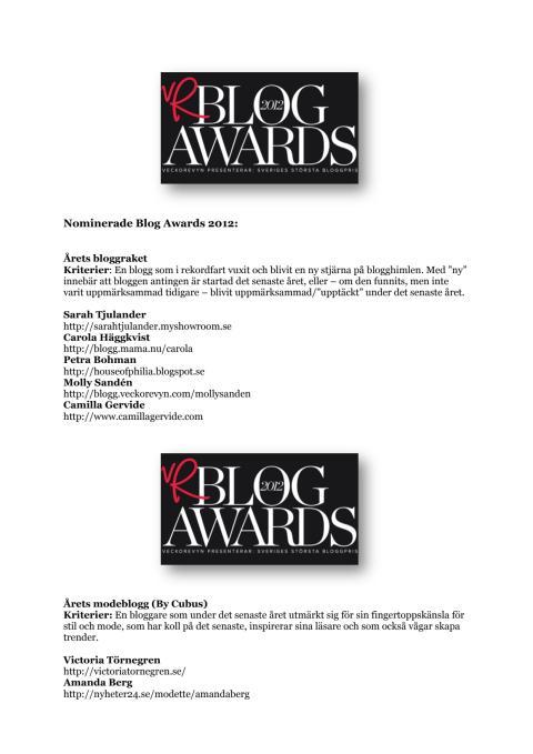 Nominerade till Blog Awards 2012