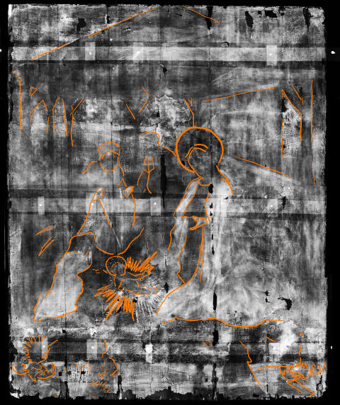 Bowes Museum panel Xray with markings (photo credit Northumbria University and The Bowes Museum)