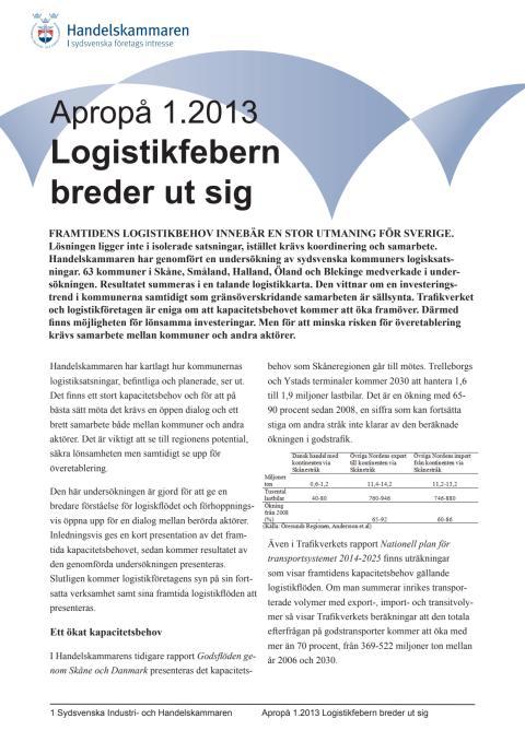 Apropå 1.2013 Logistikfebern breder ut sig