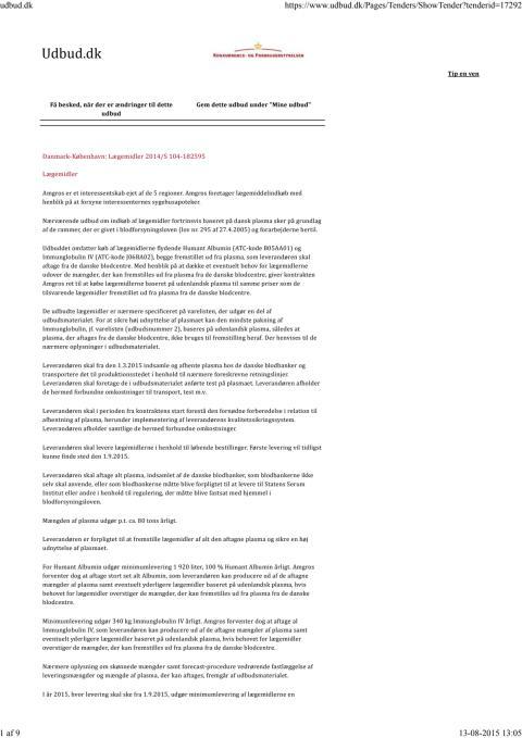 Offentligt udbud - køb af lægemidlerne flydende Humant Albumin (ATC-kode B05AA01) og Immunglobulin IV (ATC-kode J06BA02)