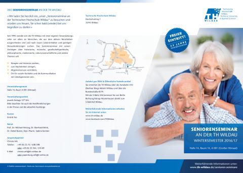 23. Wintersemester des Seniorenseminars an der TH Wildau startet am 7. Oktober 2016 mit einem Vortrag zur Zukunft Europas