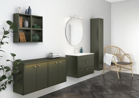 Nya badrumsmöbler i höstens hetaste trendfärg
