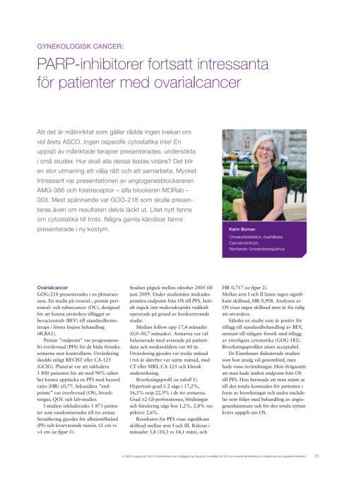 Gynekologisk cancer - överläkare Karin Boman rapporterar från ASCO 2010