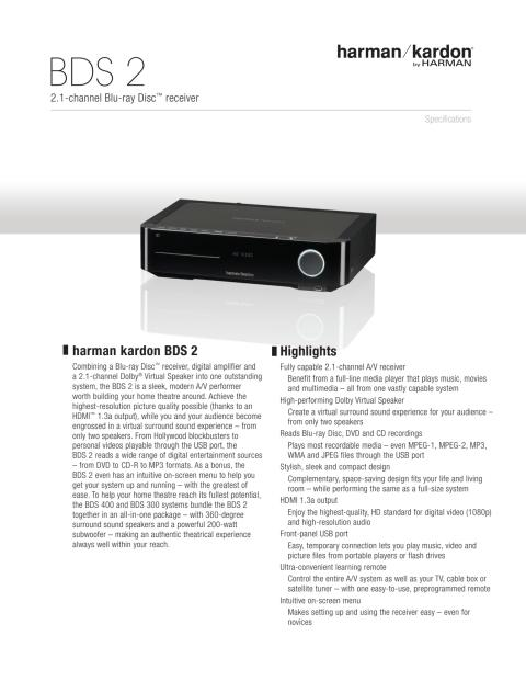 Specification sheet - harman kardon BDS 2 (English)