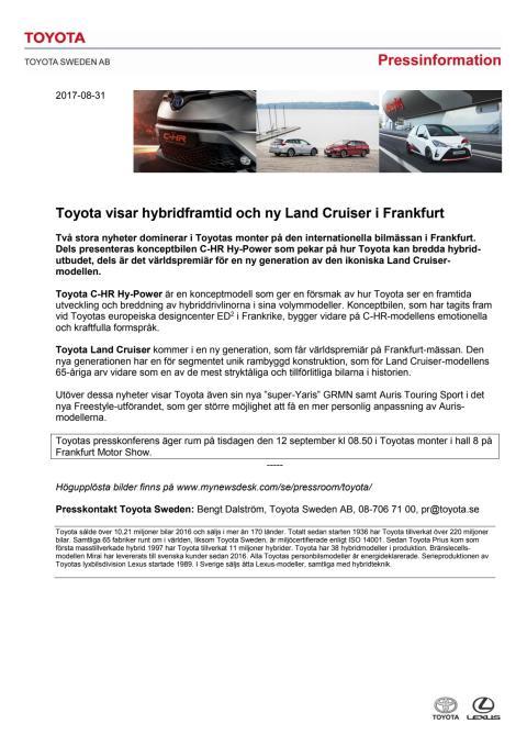 Toyota visar hybridframtid och ny Land Cruiser i Frankfurt