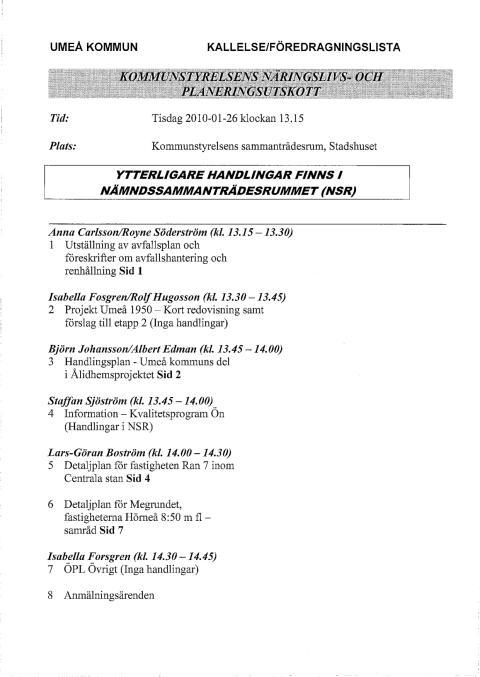 NP 2010-01-25 Kallelse och missiv