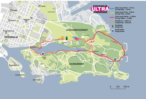 Stockholm Ultra Marathons bana för 50 km, 75 km och 100 km