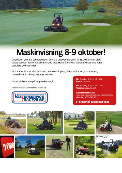Visning av golfmaskiner tillsammans med vår återförsäljare Västerservice Tractor AB
