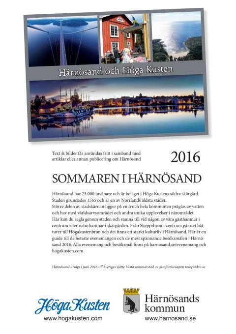 Pressinfo om sommaren 2016 för Härnösand i Höga Kusten