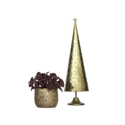 Guldfärgad kruka och dekorationsgran