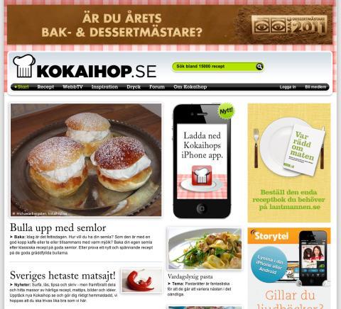 Kokaihop.se bästa svenska matsajt 2011