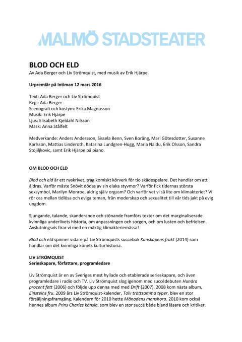 Pressmaterial till BLOD OCH ELD