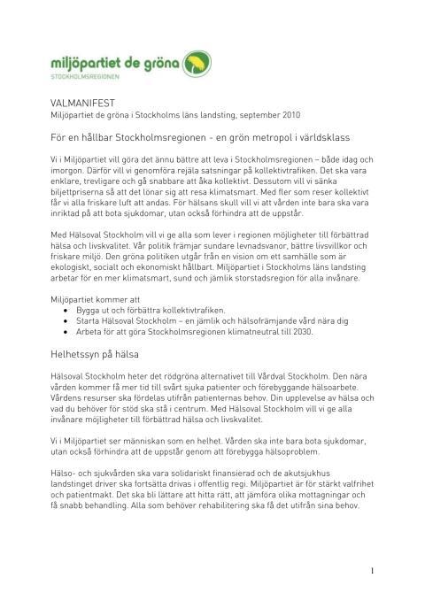 Valmanifest Miljöpartiet Stockholms läns landsting
