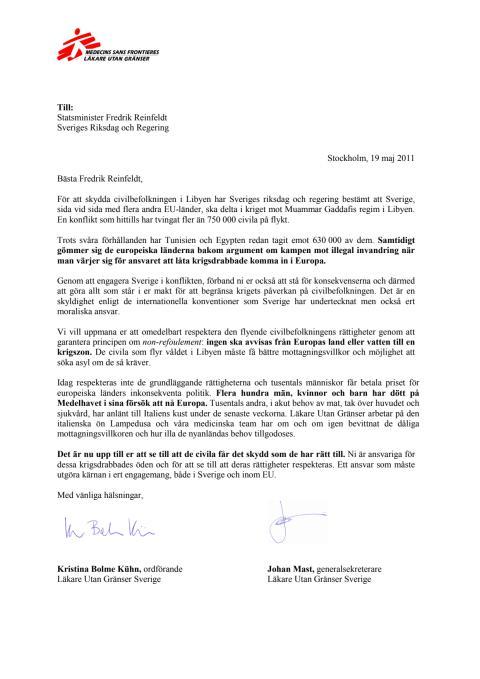 Öppet brev från Läkare Utan Gränser till Fredrik Reinfeldt om Libyen