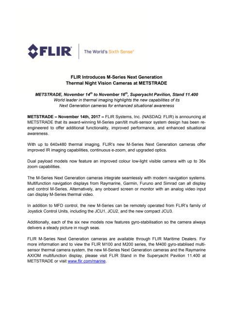 FLIR: METSTRADE Press Kit - Press Release #2