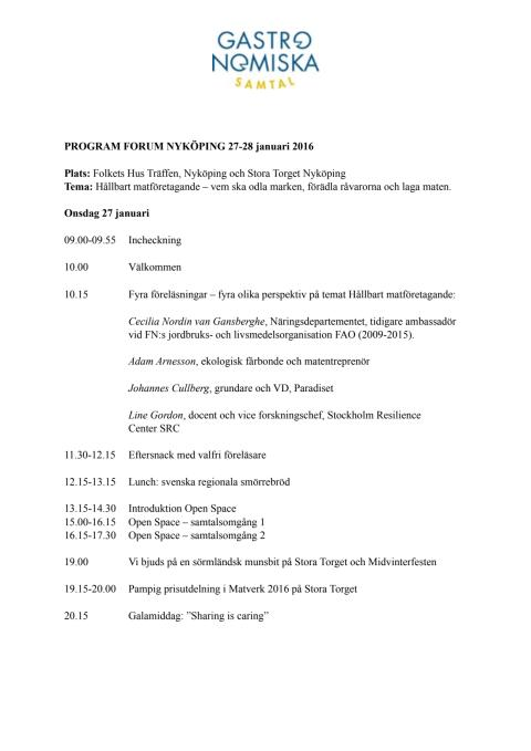 Program Forum Nyköping 2016