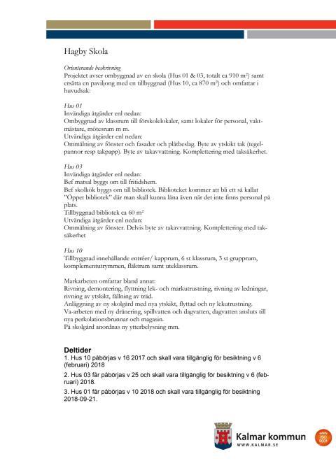 Information om ny- och ombyggnation av Hagby skola