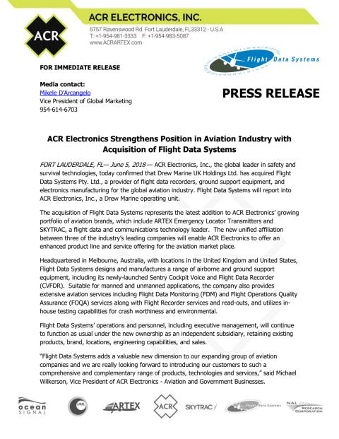 ACR Electronics Strengthens Position in Aviation Industry with Acquisition of Flight Data Systems