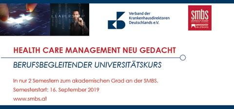 Newsletter KW 17: Health Care Management neu gedacht - In nur 2 Semestern zum akademischen Grad an der SMBS.
