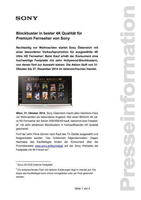 """Pressemitteilung """"Blockbuster in bester 4K Qualität - für Premium Fernseher von Sony"""""""