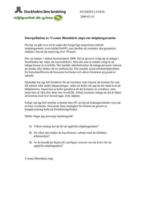 Interpellation om SL:s sittplatsgaranti (MP)