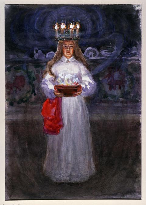 Detalj från akvarell av Emelie von Walterstorff. Foto Hans Koegel, Nordiska museet