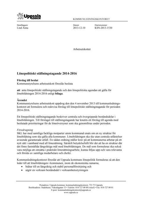 Lönepolitiskt ställningstagande, beslutet i kommunstyrelsens arbetsutskott