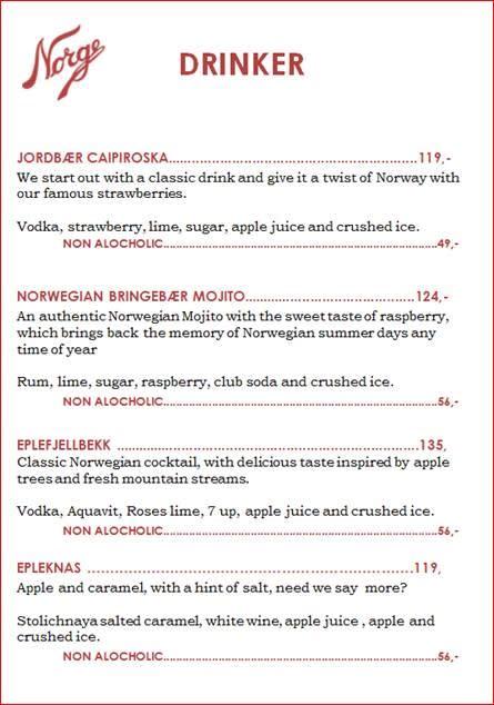 Norgesglasset drikkemeny