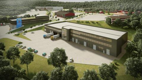 Bildet av Hydex-bygget med næringsparken i bakgrunn