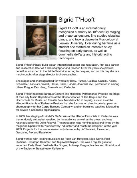 Bio of Sigrid T'Hooft, Director of Mozart's La Clemenza di Tito, at Drottningholm Slottsteater 2013