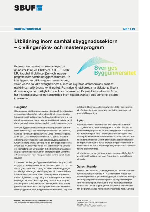 SBUF Informerar, nr. 11-21 Utbildning inom samhällsbyggnadssektorn – civilingenjörs- och mastersprogram