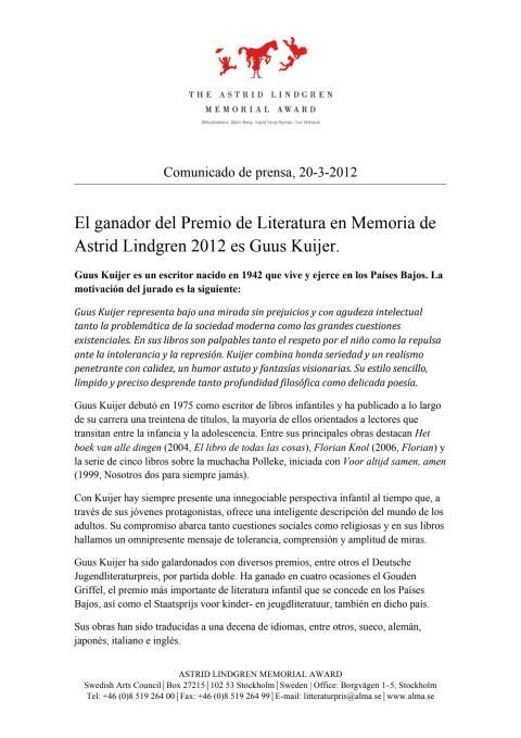 Press release: Guus Kuijer spa