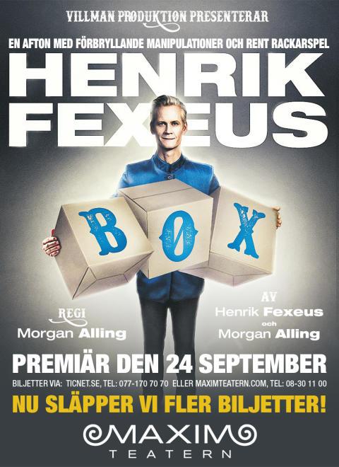 Den 24 september är det dags för tankedomptören Henrik Fexeus och föreställningen BOX att ha premiär på Maximteatern