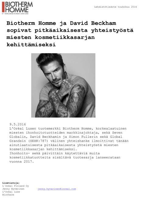 Biotherm Homme ja David Beckham yhteistyö lehdistötiedote toukokuu 2016