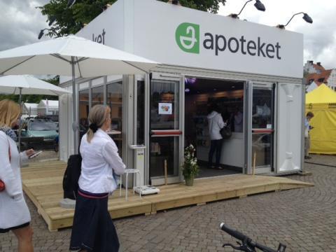 Apoteket på plats med apotekspaviljong i Almedalen