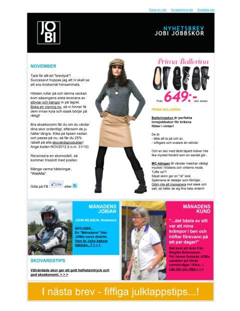 JOBI Jobbskor Nyhetsbrev november 2012