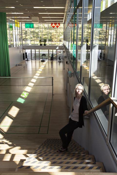 Anne-Grethe Borch Lauridsen i idrettshallen