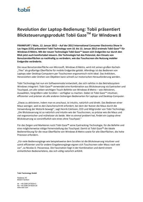 Revolution der Laptop-Bedienung: Tobii präsentiert Blicksteuerungsprodukt Tobii GazeTM für Windows 8