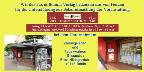 Wir der Pax et Bonum Verlag bedanken uns von Herzen bei Zeitungsladen und Tabakwahren für die Unterstützung zur Bekanntmachung der Veranstaltung.