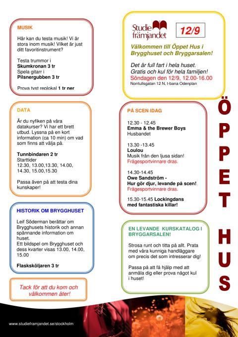 Hela programmet för Öppet Hus söndagen den 12 september